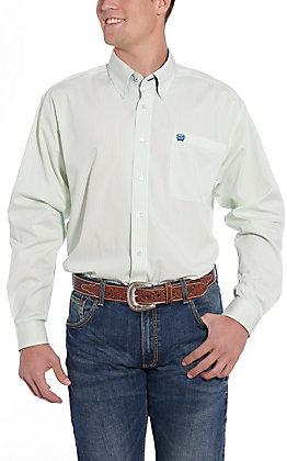 Cinch Men's White and Green Stripe Long Sleeve Western Shirt