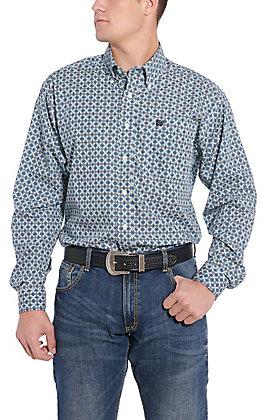 Cinch Men's Blue Medallion Long Sleeve Western Shirt