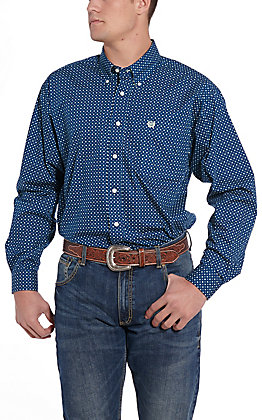 Cinch Men's Navy Blue Print Long Sleeve Western Shirt