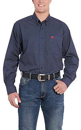 Cinch Men's Navy Blue Geo Print Long Sleeve Western Shirt