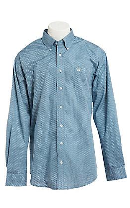 Cinch Men's Cavender's Exclusive Blue Diamond Print Long Sleeve Western Shirt
