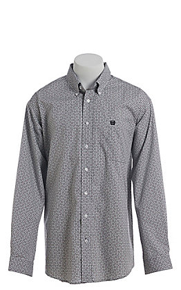 Cinch Cavender's Exclusive Men's Grey Diamond Print Long Sleeve Western Shirt