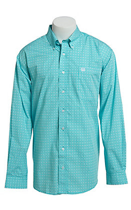 Cinch Men's Turquoise Medallion Print Button Down Western Shirt