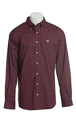 Cinch Cavender's Exclusive Men's Purple With Triangle Dot Geo Print Short Sleeve Button Down Western Shirt