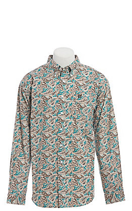 Cinch Men's Teal & Tan Paisley Print Long Sleeve Western Shirt