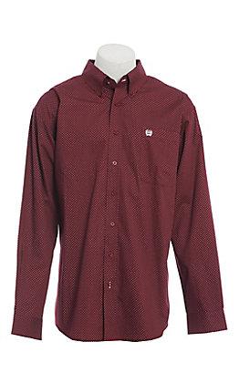 Cinch Men's Burgundy Geo Print Long Sleeve Western Shirt