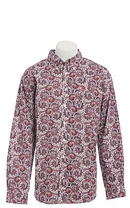 Cinch Men's Burgundy & White Paisley Print Long Sleeve Western Shirt