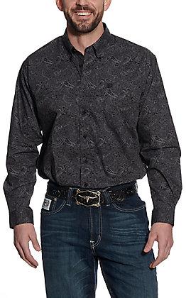 Cinch Men's Black Paisley Print Long Sleeve Western Shirt