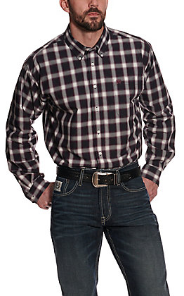 Cinch Men's Black, White & Purple Plaid Long Sleeve Western Shirt