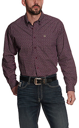 Cinch Men's Purple and White Interlocked Square Geo Long Sleeve Western Shirt