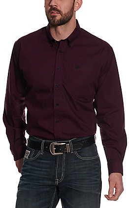 Cinch Men's Purple & Black Basketweave Long Sleeve Western Shirt