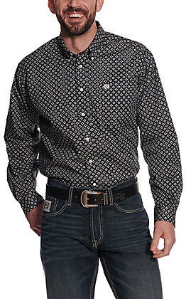 Cinch Men's Black with White Square Medallion Print Long Sleeve Western Shirt