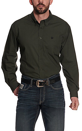 Cinch Men's Olive and Black Basketweave Print Long Sleeve Western Shirt