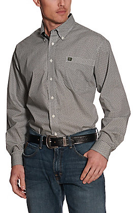 Cinch Men's White with Olive Dots Long Sleeve Western Shirt