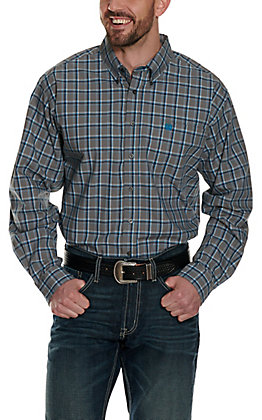 Cinch Men's Grey with Black and Turquoise Plaid Long Sleeve Western Shirt