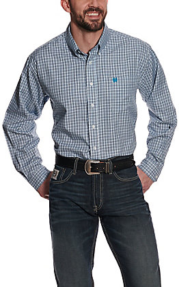 Cinch Men's White with Turquoise and Black Plaid Tencel Long Sleeve Western Shirt