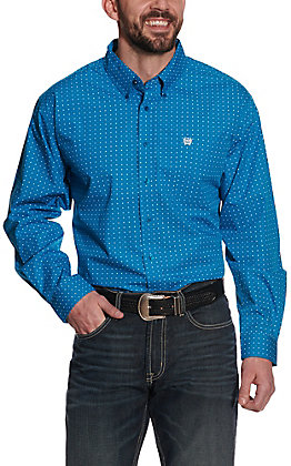 Cinch Men's Turquoise with White Diamond Print Long Sleeve Western Shirt
