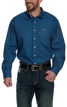 Cinch Men's Blue with Orange Chain Print Long Sleeve Western Shirt