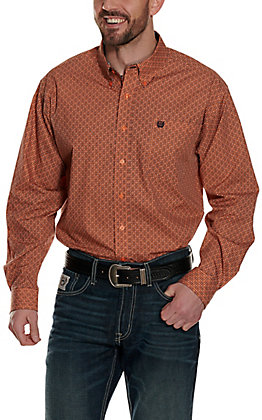 Cinch Men's Orange Medallion Print Long Sleeve Western Shirt
