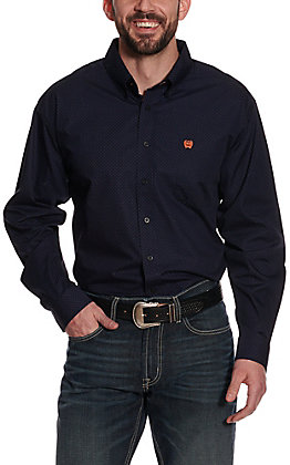 Cinch Men's Navy with Black and Coral Print Long Sleeve Western Shirt