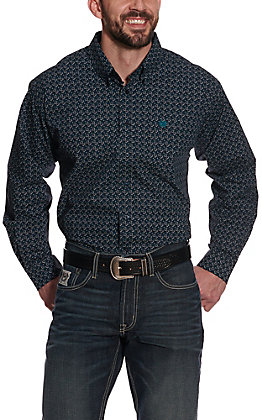 Cinch Men's Navy with White Geo Print Long Sleeve Western Shirt