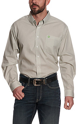 Cinch Men's Tan and White Diamond Print Long Sleeve Western Shirt