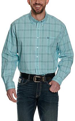 Cinch Men's Turquoise Plaid Long Sleeve Western Shirt