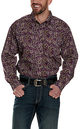 Cinch Men's Purple with a Brown and Tan Paisley Print Long Sleeve Western Shirt