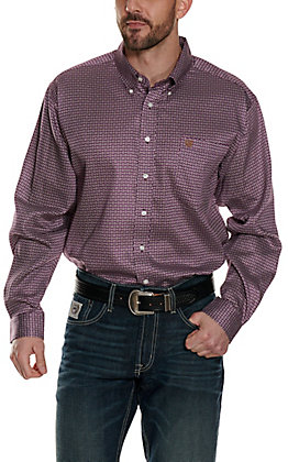 Cinch Men's Purple with White & Tan Geo Print Long Sleeve Western Shirt