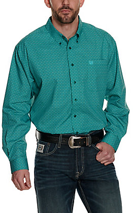 Cinch Men's Teal Green and Turquoise Circle Print Long Sleeve Western Shirt