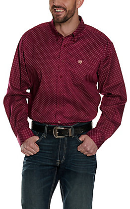 Cinch Men's Burgundy with a Teardrop Print Long Sleeve Western Shirt