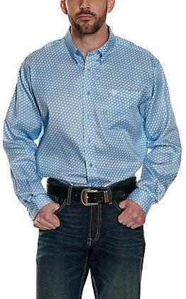 Cinch Men's Light Blue with White & Blue Geo Print Long Sleeve Western Shirt
