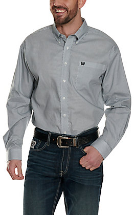 Cinch Men's White with Black and Light Blue Geo Print Long Sleeve Western Shirt