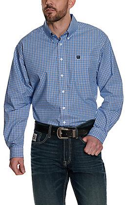 Cinch Men's Royal Blue & White Plaid Long Sleeve Western Shirt