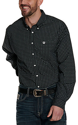 Cinch Men's Black with White & Teal Diamond Print Long Sleeve Western Shirt