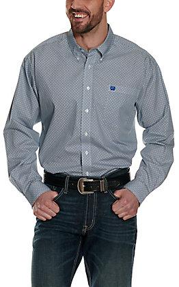 Cinch Men's White with Blue & Black Circle Print Long Sleeve Western Shirt