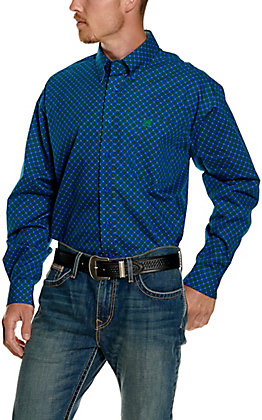 Cinch Men's Royal Blue with Green Floral Print Long Sleeve Western Shirt