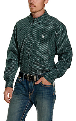 Cinch Men's Forest Green Geo Print Long Sleeve Western Shirt