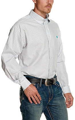 Cinch Men's White with Red & Turquoise Check Print Tencel Long Sleeve Western Shirt