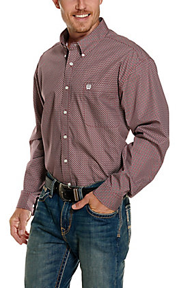 Cinch Men's Burgundy with White and Black Geo Print Long Sleeve Western Shirt