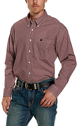 Cinch Men's Burgundy, Black and White Geo Diamond Print Long Sleeve Western Shirt