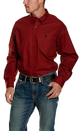 Cinch Men's Red with Black Geo Circle Print Long Sleeve Western Shirt