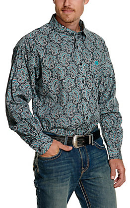 Cinch Men's Grey with Turquoise & White Paisley Print Long Sleeve Western Shirt