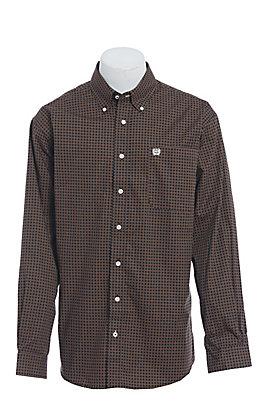 Cinch Men's Black with Khaki Print Long Sleeve Western Shirt