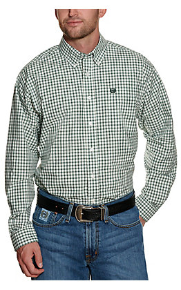 Cinch Men's White with Green Plaid Long Sleeve Western Shirt
