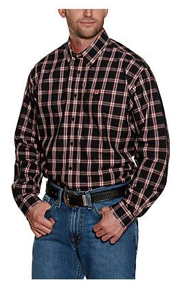 Cinch Men's Black with Salmon Pink Plaid Long Sleeve Western Shirt