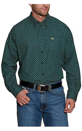 Cinch Men's Dark Green with Light Green Leaf Print Long Sleeve Western Shirt