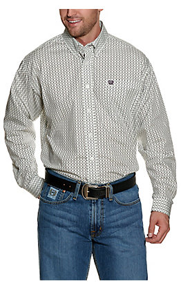 Cinch Men's Mint with White and Purple Geo Print Long Sleeve Western Shirt