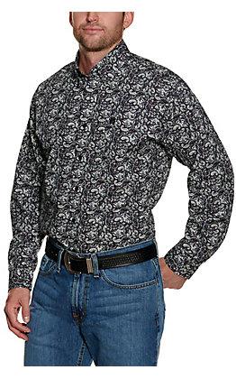Cinch Men's Purple with White Paisley Print Long Sleeve Western Shirt