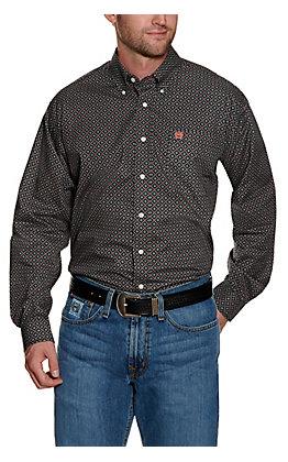 Cinch Men's Black with White and Salmon Diamond Print Long Sleeve Western Shirt